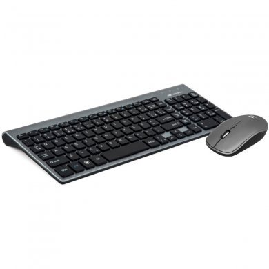 Kit Teclado e Mouse Wireless Óptico Led 1600 Dpis Preto/cinza K-w510sbk C3 Tech